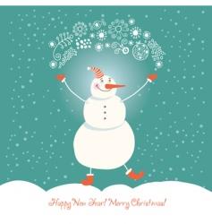 funny snowman vector image vector image