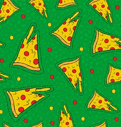 Retro hand drawn stitch patch pizza background vector image vector image