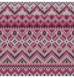 seamless lilac ornament on knitted texture vector image