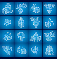abstract 3d shapes set vector image vector image