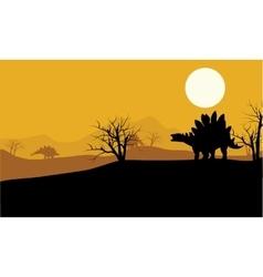 At sunset stegosaurus in fields scenery vector