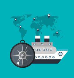 cruise ship compass world travel vector image