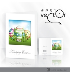 Easter Background With Eggs In Grass vector image