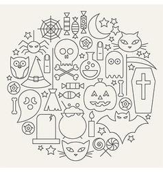 Halloween Holiday Line Icons Set Circular Shaped vector image