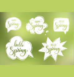hello spring lettering on speech bubbles vector image