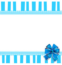Holiday greeting card with blue bow on blue and vector