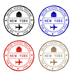 new york mail stamps colored set of round impress vector image vector image