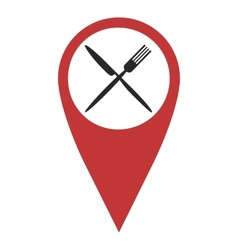 Red geo pin with fork and knife vector image vector image