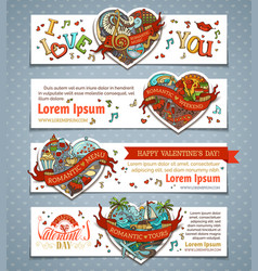 set of horizontal valentines banners vector image vector image