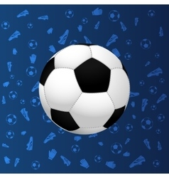 Soccer ball on blue gradient background vector image vector image