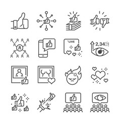 social network line icon set vector image vector image
