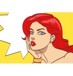 Very beautiful colorful cartoon woman in pop art vector image vector image