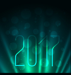 2017 on blue background with glowing rays vector image