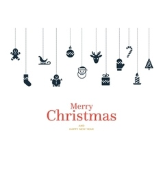 Christmas card with set of icons and vector image vector image