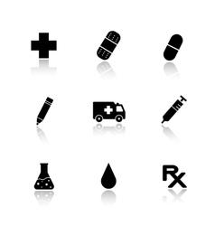 Hospital drop shadow icons set vector image
