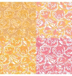 Set of four seamless pattern with pink roses vector image