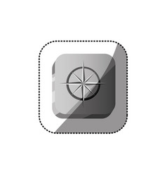 Sticker color square button 3d with compass rose vector