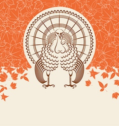 Turkey bird for Thanksgiving day card for text vector image