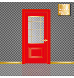 white closed door with frame isolated on vector image