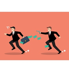 Businessman running away from a man holding gun vector
