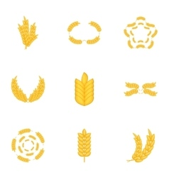 Elements with wheat icons set cartoon style vector image