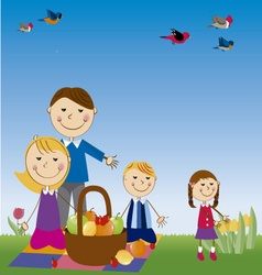 family in picnic vector image vector image