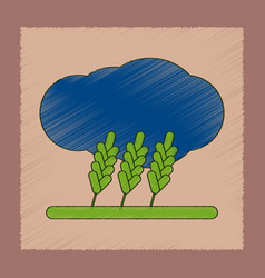 Flat shading style icon wheat cloud vector