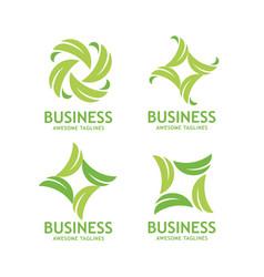 Green leaf ecology nature element logo set vector