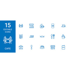 15 cafe icons vector