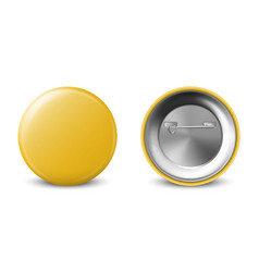 3d realistic yellow metal plastic blank vector