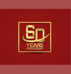 60 years anniversary with square and swoosh vector
