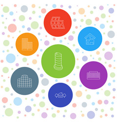 7 apartment icons vector