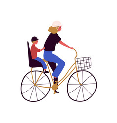 Active mother and son ride on bike flat vector