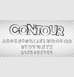 alphabet letters and numbers contour line vector image