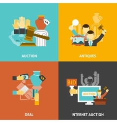 Auction Deal Icons Set vector