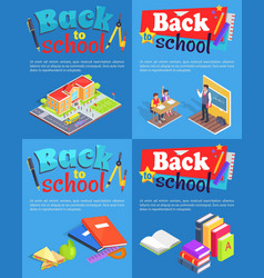 back to school collection of posters with text vector image