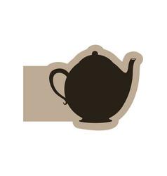 Black contour teapot icon vector
