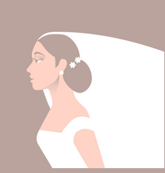 bride in wedding dress and veil vector image