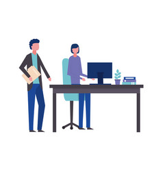 business man and woman office desk computer vector image