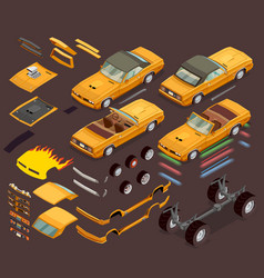 Car tuning snyling parts isometric set vector