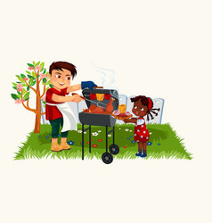cartoon lovely father cooking for little daughter vector image