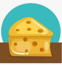 cheese piece healthy food vector image