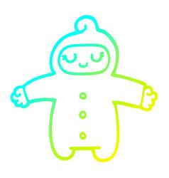 Cold gradient line drawing cartoon baby vector