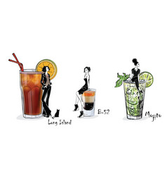 Collection of popular cocktails for the menu vector