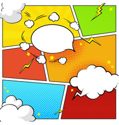 Comic book page template with halftone effects vector