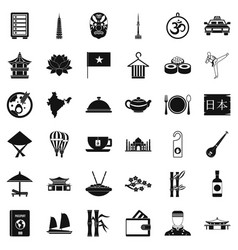Country dish icons set simple style vector