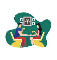 Coworking rest and relaxation area cartoon flat vector