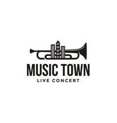 creative music town logo template vector image