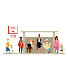 crowd people waiting vehicle at bus stop flat vector image