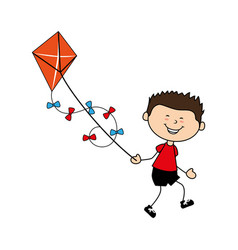 cute boy flying kite avatar character vector image